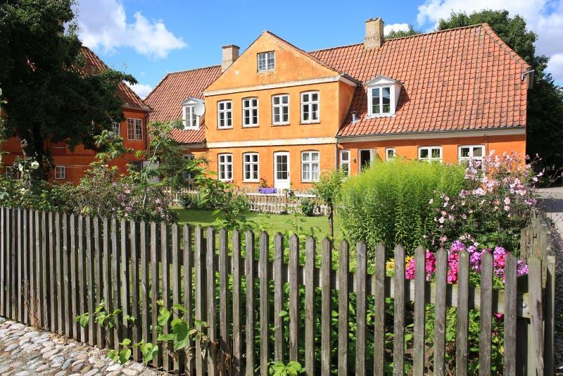 Historische Christiansfeld in Jutland, Denemarken stock foto's