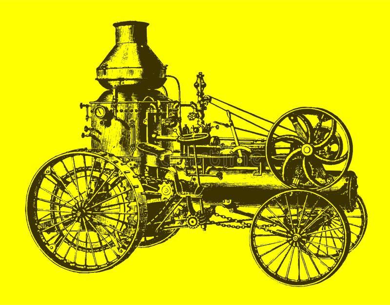 Historische Dampfstraßenlokomotive, Traktor, Fahrzeug mit Wasserbehälter in der Seitenansicht lizenzfreie abbildung
