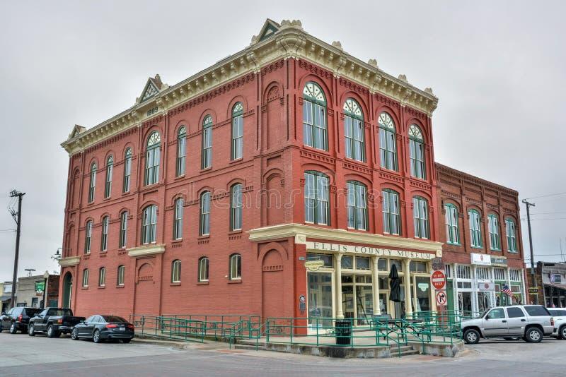 Historische de bouwhuisvesting Ellis County Museum in Waxahachie, TX stock afbeeldingen