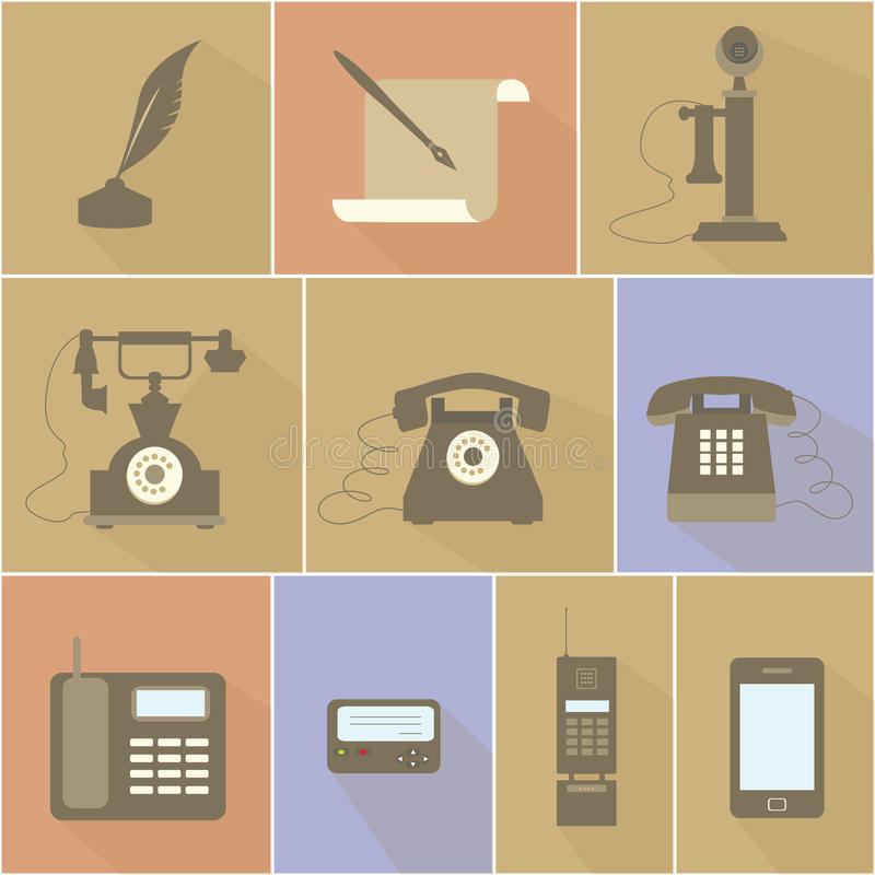Historische Entwicklung des Telefons vektor abbildung