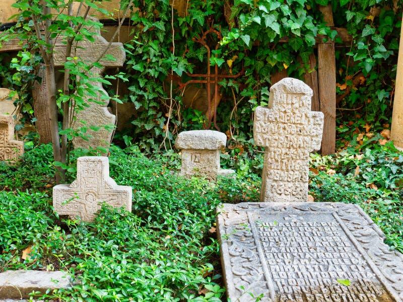 Historische ernste Steine, Stavropoleos-Kloster, Bukarest, Rumänien stockfoto