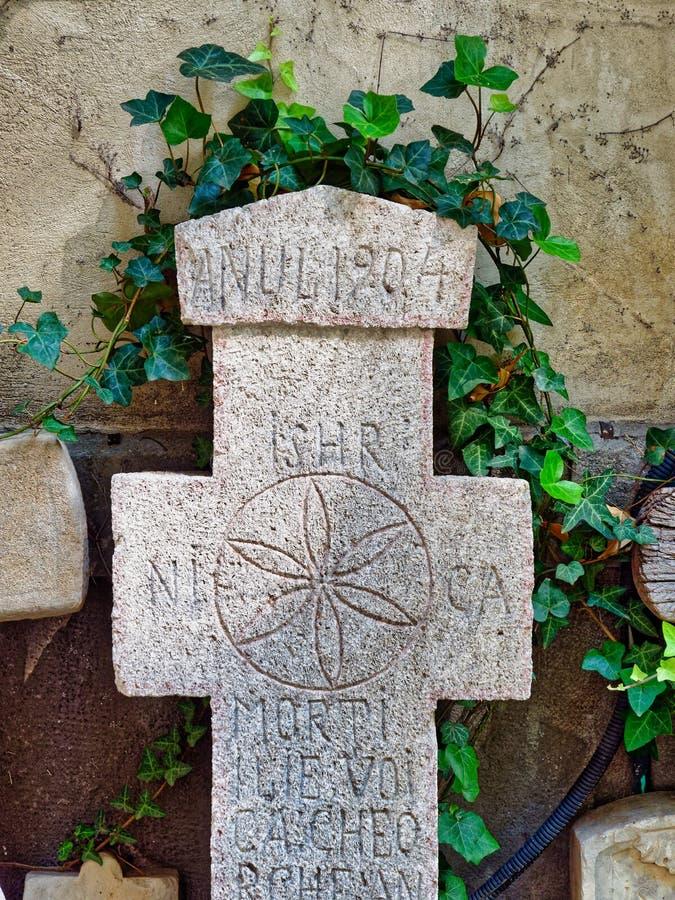 Historische ernste Steine, Stavropoleos-Kloster, Bukarest, Rumänien stockfotos