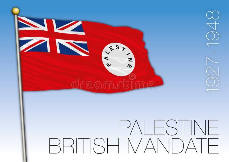 Historische Flagge Palästinas, Jahre 1927 bis 1948, britisches Mandat stock abbildung