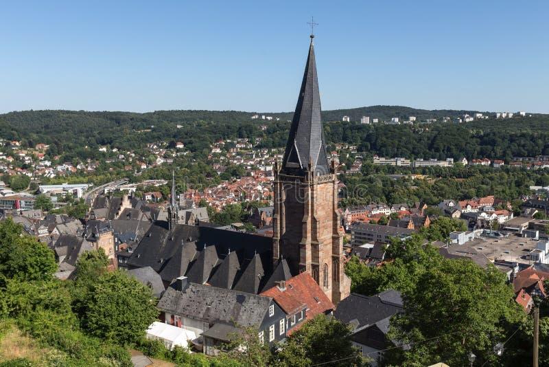 Historische Gebäude in Marburg Deutschland lizenzfreie stockfotos