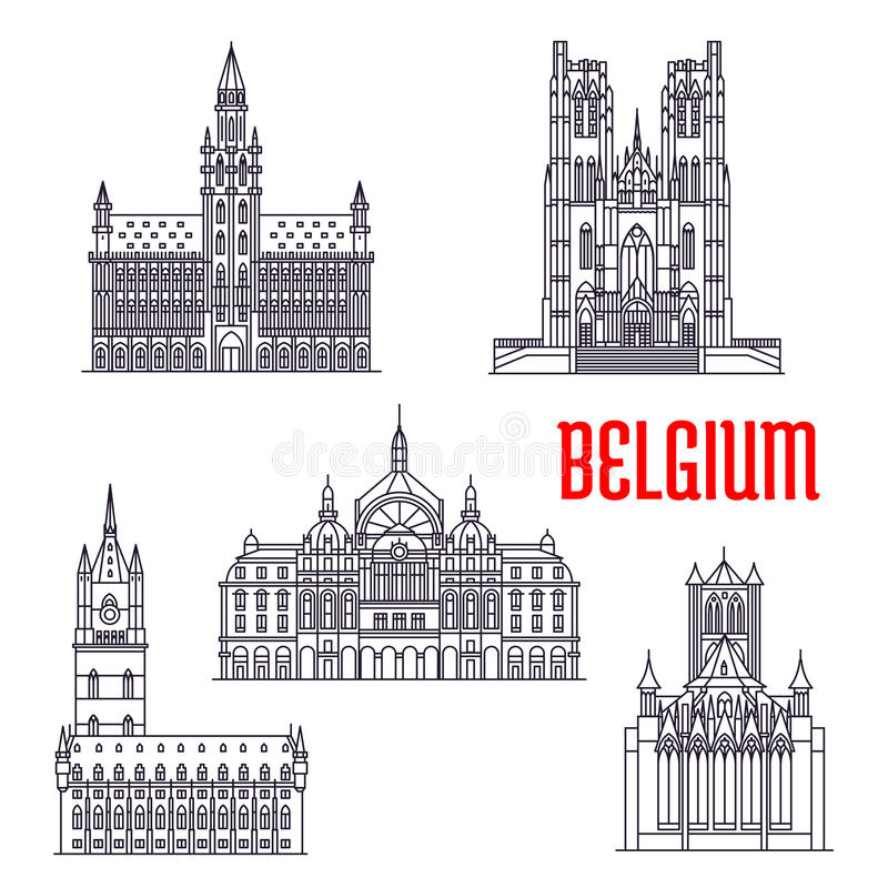 Historische Gebäude und Architektur von Belgien stock abbildung