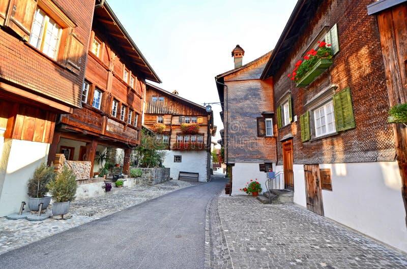 Historische gebouwen in Buchs - St Gallen, Zwitserland royalty-vrije stock afbeeldingen