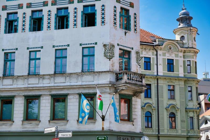 Historische Gebouwen in de Stadscentrum van Ljubljana, Slovenië stock afbeelding