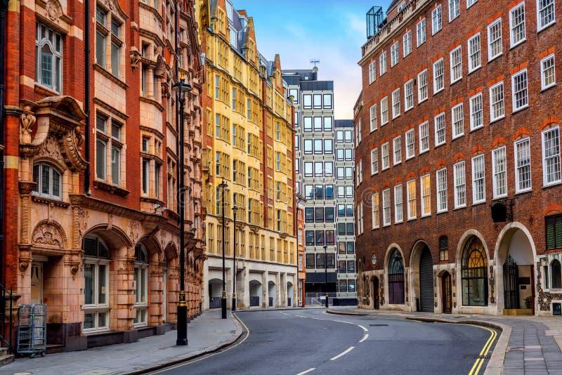 Historische gebouwen in de stadscentrum van Londen, Engeland, het UK stock afbeelding
