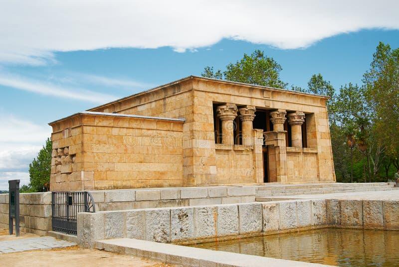 Historische gebouwen Egyptische tempel van Madrid stock foto