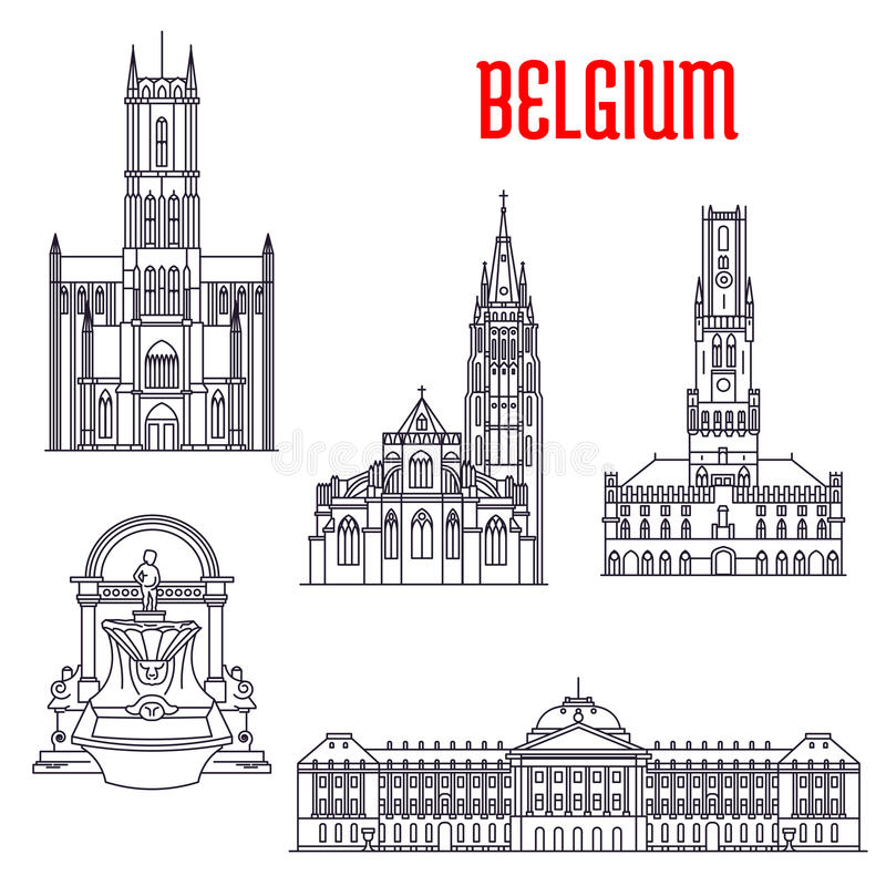 Historische gebouwen en architectuur van België stock illustratie