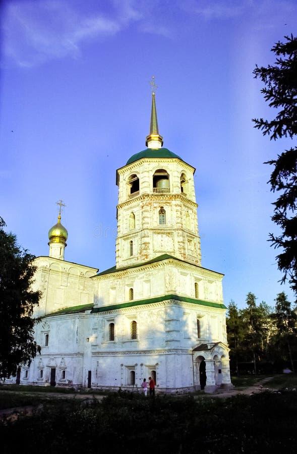 Historische gebouwen en monumenten in de straten van de stad van Irkoetsk in Krasnoyarsk Krai, Rusland royalty-vrije stock afbeeldingen
