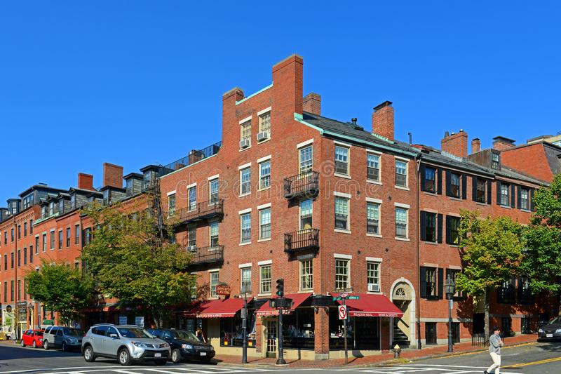 Historische Gebouwen op Beacon Hill, Boston, de V.S. royalty-vrije stock afbeeldingen