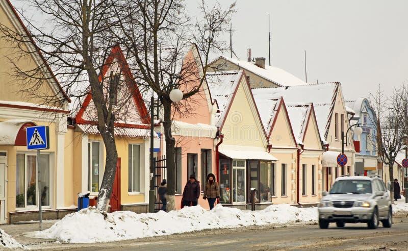 Historische gebouwen op de Zholudev-straat in Vawkavysk wit-rusland royalty-vrije stock fotografie