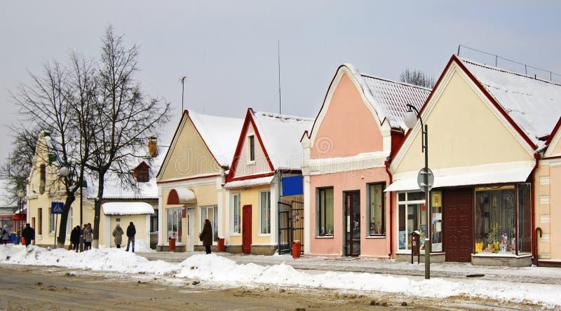 Historische gebouwen op de Zholudev-straat in Vawkavysk wit-rusland stock afbeelding