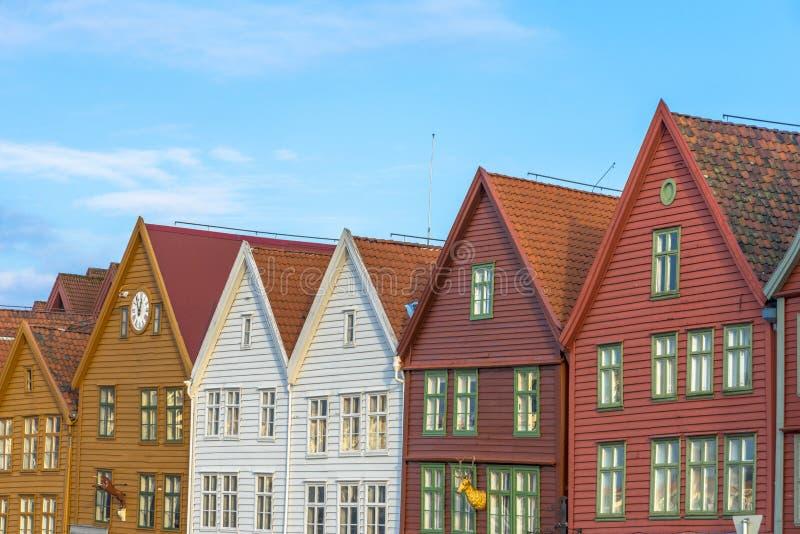 Historische gebouwen van Bryggen in de Stad van Bergen, Noorwegen royalty-vrije stock foto