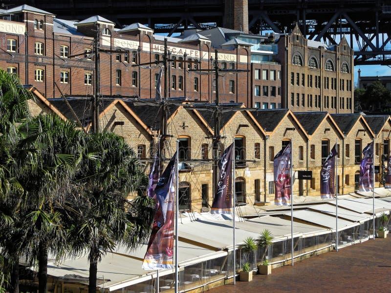 Historische gebouwen van het Rotsengebied in Sydney royalty-vrije stock foto's