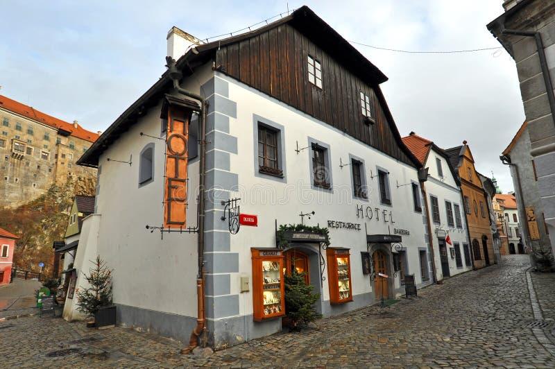 Historische Häuser in Cesky Krumlov lizenzfreie stockbilder