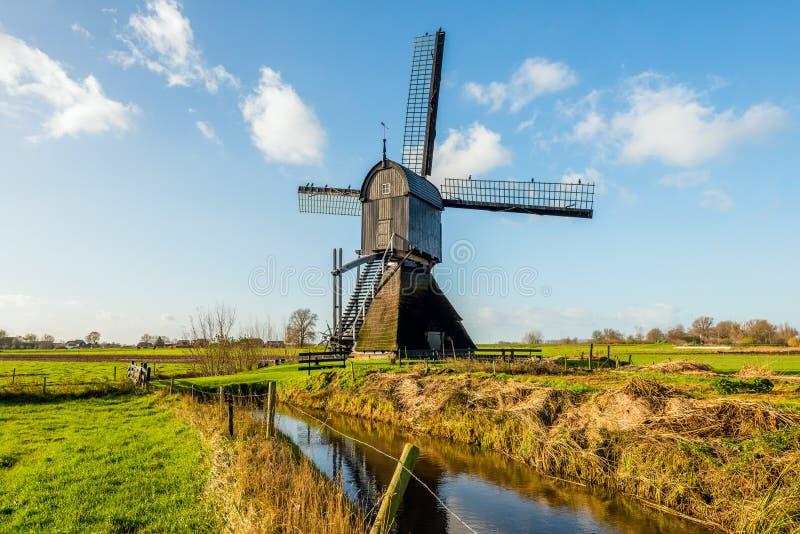 Historische hölzerne hohle Bockwindmühle in einer niederländischen Polderlandschaft stockfotos