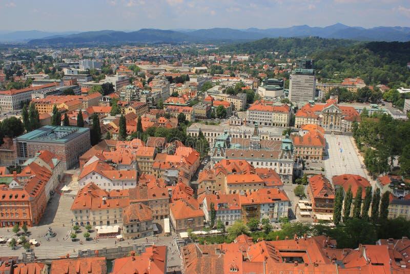 Historische het centrummening van Ljubljana, Slovenië royalty-vrije stock foto