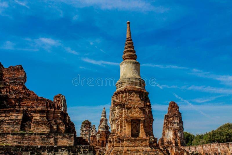 Historische het Park oude tempel Wat Yai Chai Mongkhon van Si Ayutthaya van Phranakhon royalty-vrije stock foto