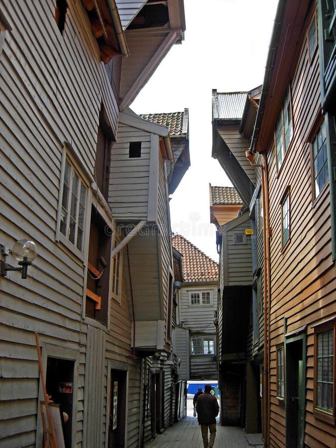 Historische Holzhäuser in Bergen (Norwegen) lizenzfreies stockfoto