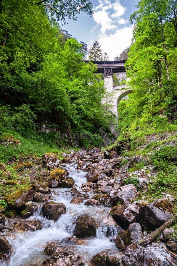 Historische Houten Behandelde Brug van St Georgenberg in Tirol royalty-vrije stock foto