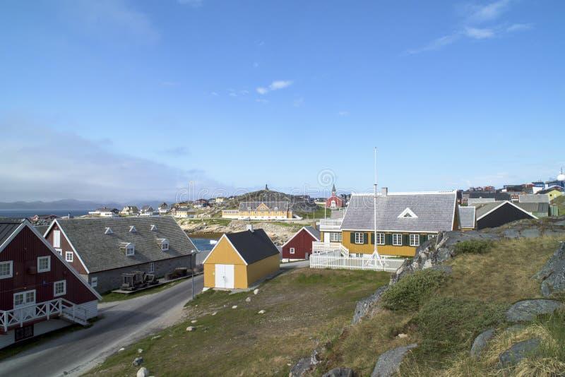 Historische huizen Nuuk, Groenland stock foto's