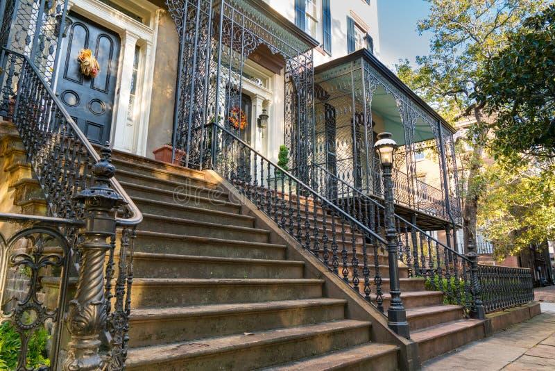 Historische Huizen in Savannah Georgia stock foto