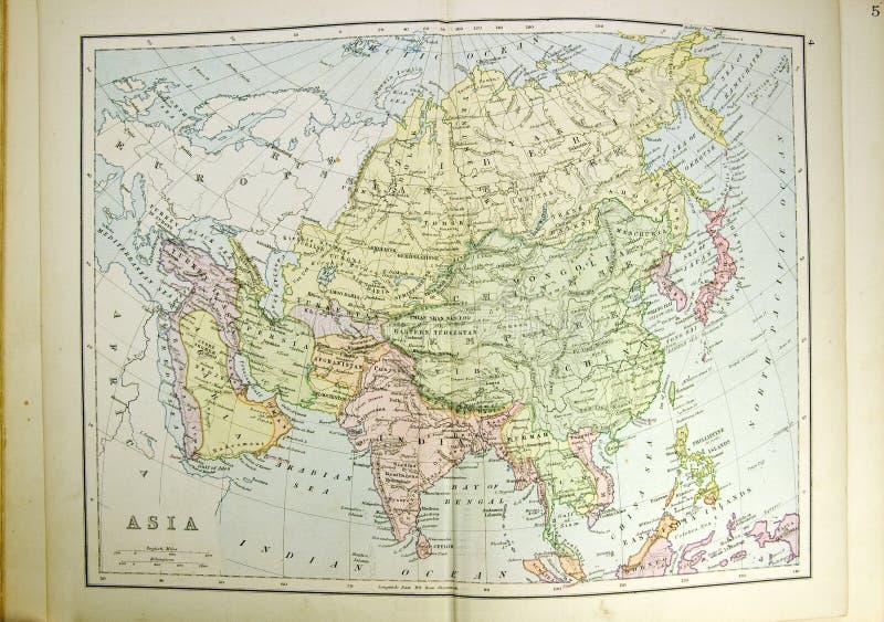 Historische kaart van Azië royalty-vrije stock afbeeldingen