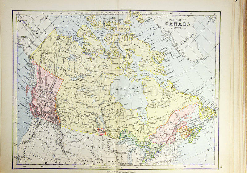 Historische kaart van Canada royalty-vrije stock afbeelding