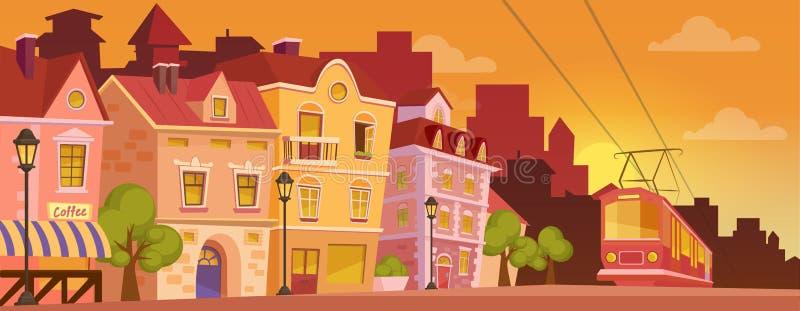 Historische Karikaturstadtstraße auf Sonnenaufgang oder Sonnenuntergang Alte Stadtfahne mit Tram Auch im corel abgehobenen Betrag lizenzfreie abbildung