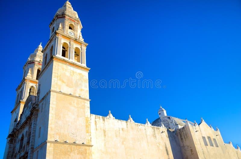 Historische Kathedrale in Campeche stockbild