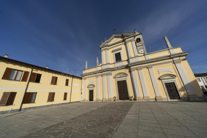 Historische kerk van Casaletto Lodigiano, Italië royalty-vrije stock afbeeldingen