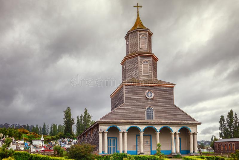 Historische kerk van Nercon, katholieke die tempel in chilot wordt gevestigd stock foto's