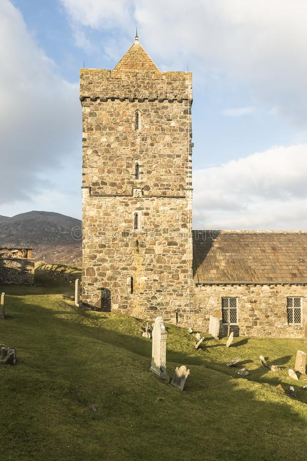 Historische Kerk van St Clements in Rodel op het Eiland van Harris in Schotland stock fotografie