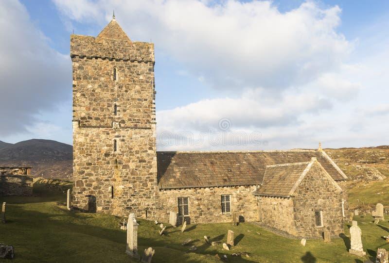 Historische Kerk van St Clements in Rodel op het Eiland van Harris in Schotland stock foto's