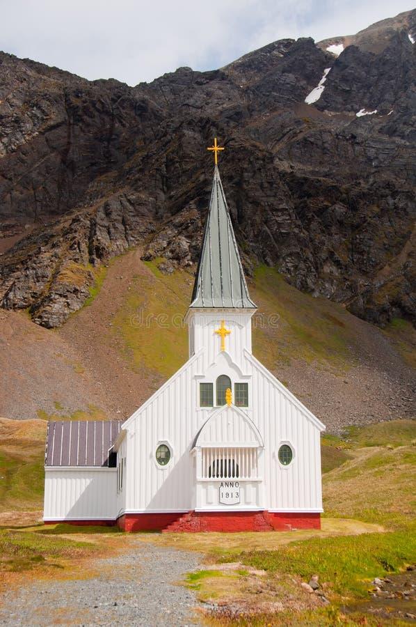 Historische Kirche auf Südgeorgia-Insel, stockbild