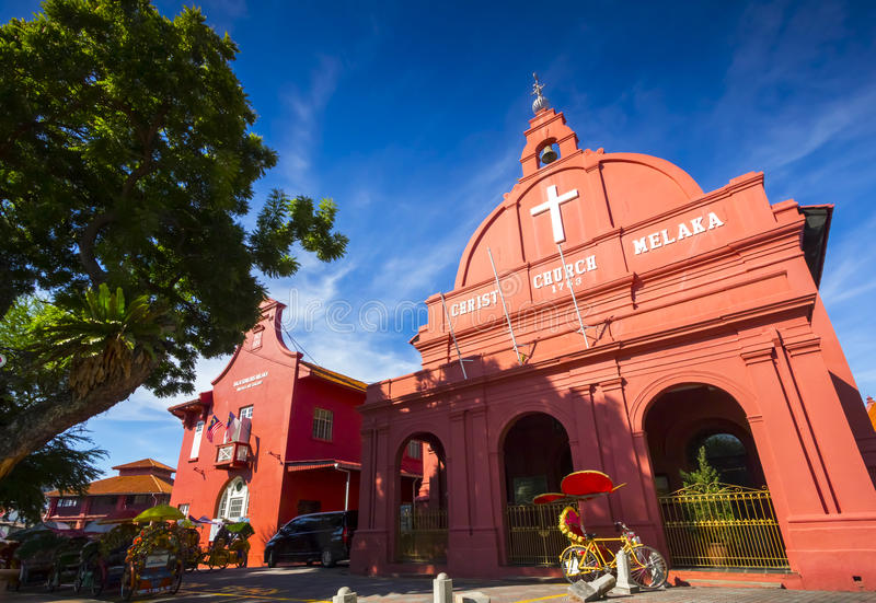 Historische Kirche in Melaka, Malaysia stockfotos