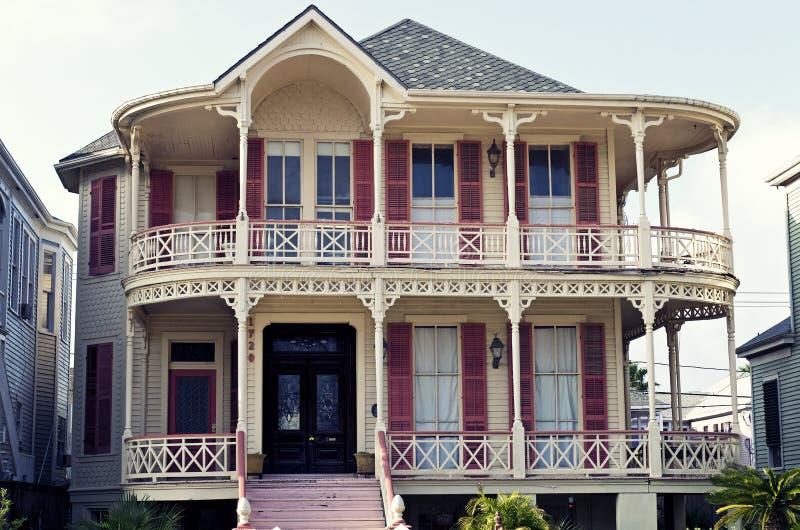 Historische Koningin Anne Victorian House in Gaveston, Texas stock afbeeldingen