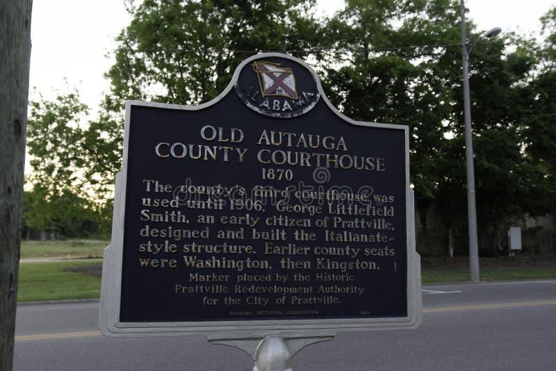 Historische Markierung für altes Autauga County Gericht lizenzfreies stockfoto
