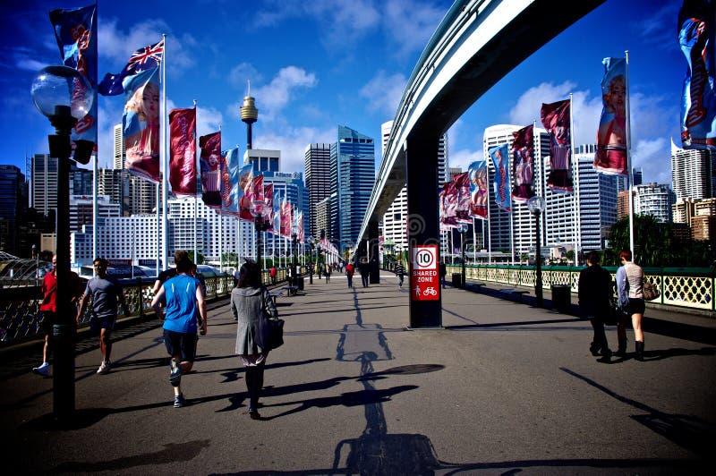 Historische Monorail in Darling Harbour Sydney stock afbeeldingen