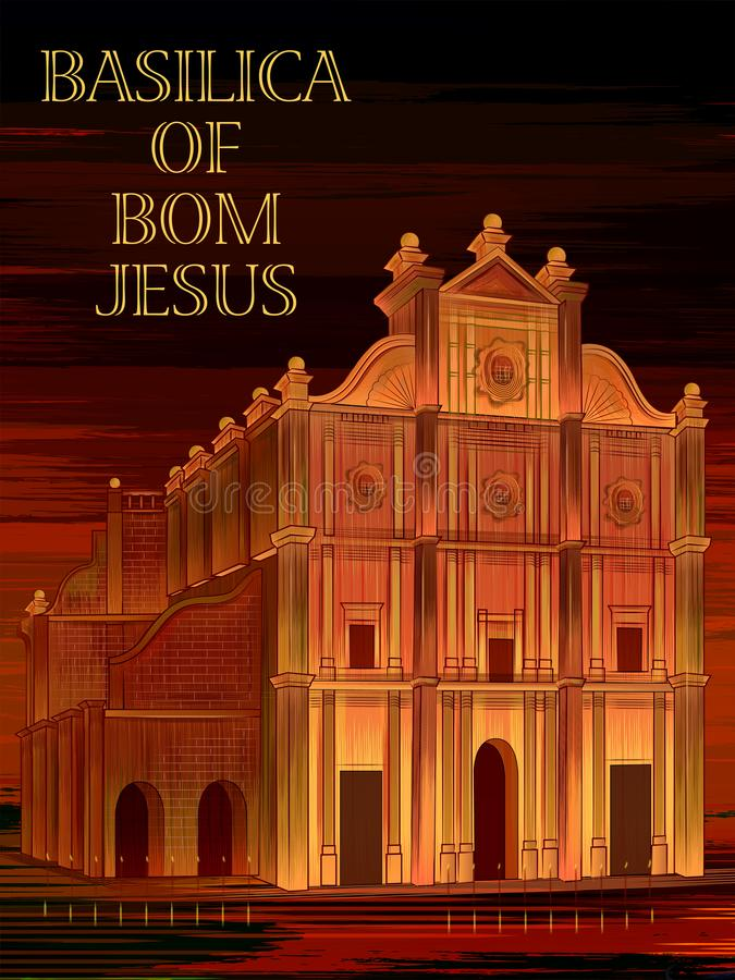 Historische monumentenbasiliek van Bom Jesus in Goa, India stock illustratie