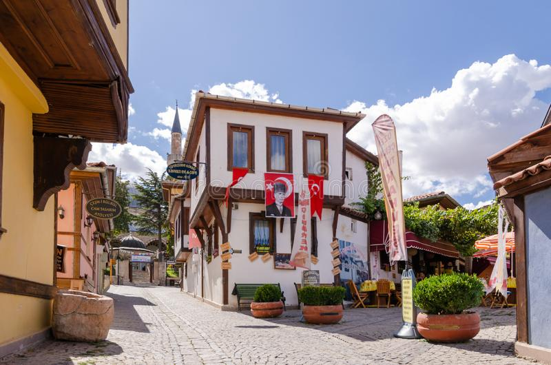 Historische Odunpazari-Bezirksansicht in Eskisehir-Stadt von der Türkei lizenzfreie stockbilder