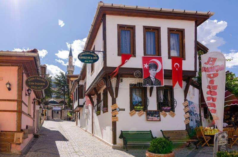 Historische Odunpazari-Bezirksansicht in Eskisehir-Stadt von der Türkei lizenzfreies stockbild