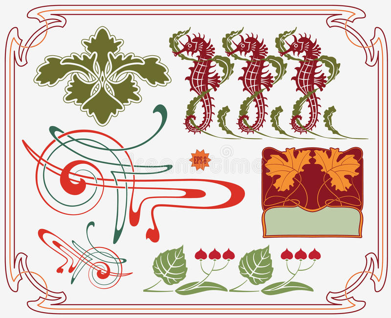 Historische ontwerpinzameling stock illustratie