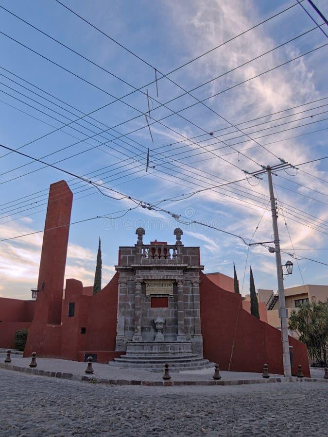 Historische Openbare Waterfontein in San Miguel de Allende, Guanajuato, Mexico stock afbeelding