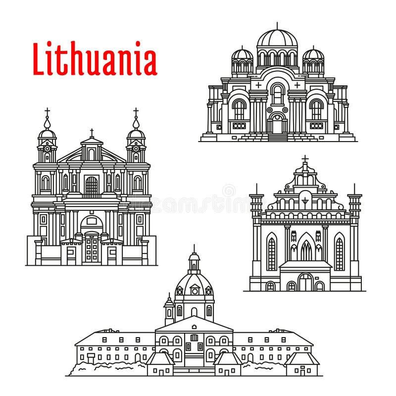 Historische oriëntatiepunten en sightseeing van Litouwen vector illustratie
