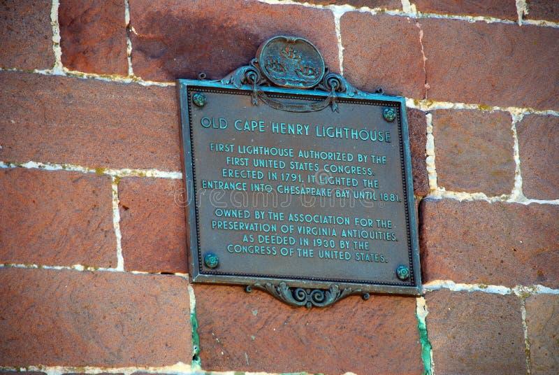 Historische Oude Kaap Henry Lighthouse Placard, Virginia de V.S. royalty-vrije stock foto's