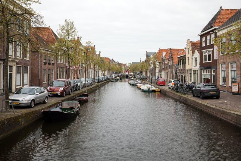 Historische oude stad van Alkmaar, Noord-Holland, Nederland, stock foto's