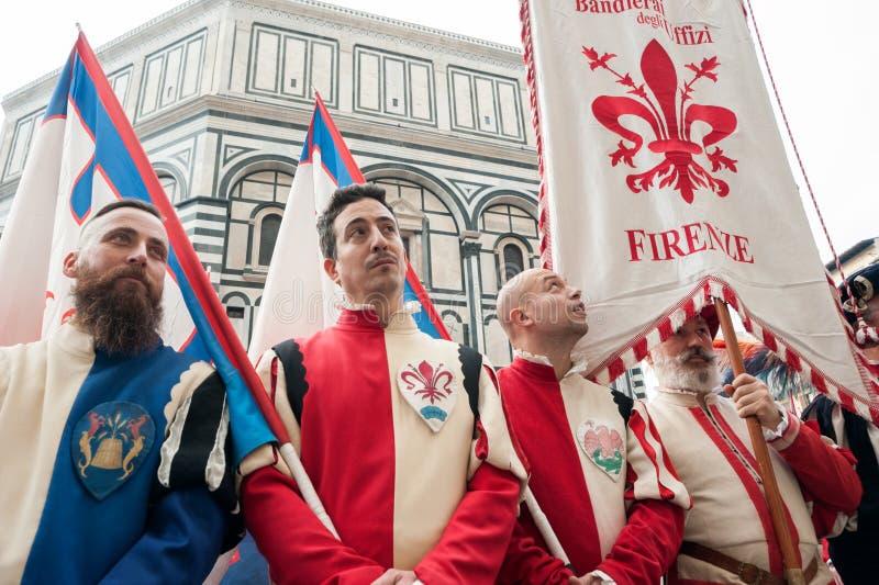 Historische parade in Florence, met supplementen in vlezige kostuums royalty-vrije stock afbeeldingen